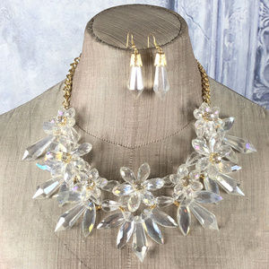 Chunky Flower Crystal Statement Necklace